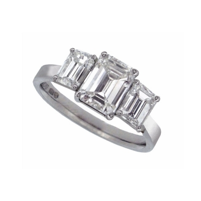 Platinum 3 Stone Emerald Cut Ring