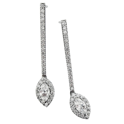 18ct White Gold. Marquise Halo Earrings